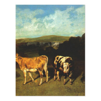 White Bull and Blond Heifer by Gustave Courbet Postcard