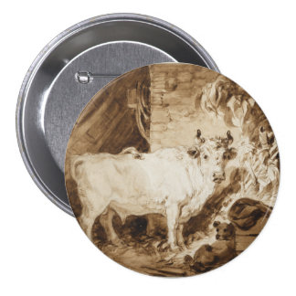 White Bull and Dog in a Stable by Fragonard Pin