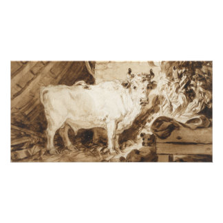 White Bull and Dog in a Stable by Fragonard Card