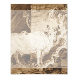 White Bull and Dog in a Stable by Fragonard Flyer