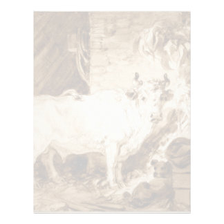 White Bull and Dog in a Stable by Fragonard Personalized Letterhead