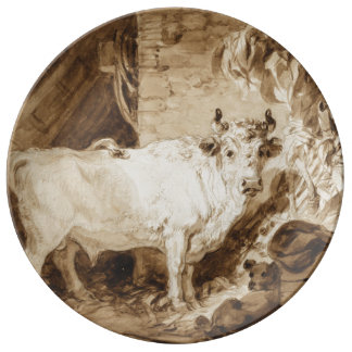 White Bull and Dog in a Stable by Fragonard Porcelain Plates