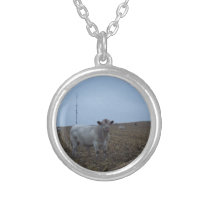 White Bull in a newly harvested Iowa Corn Field Silver Plated Necklace