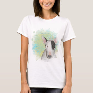 White Bull Terrier Blue Butterfly Basic t-shirt