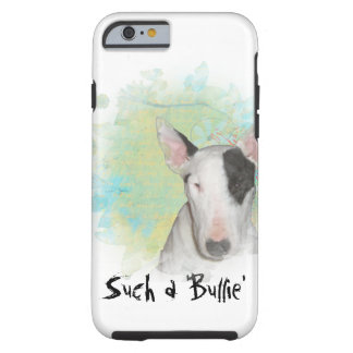White Bull Terrier Blue Butterfly iPhone 6/6s Case