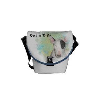 White Bull Terrier Blue Butterfly Mini Messenger Bag