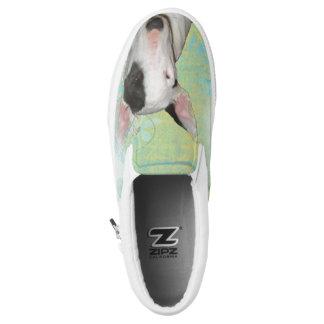 White Bull Terrier Blue Butterfly Slip on Printed Shoes