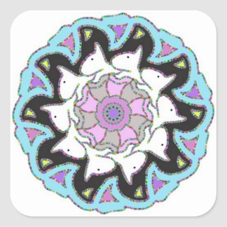 White Bull Terrier Pink and Blue Symetrical Design Square Sticker