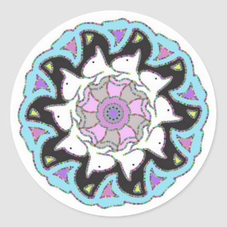 White Bull Terrier Pink/Blue Symmetrical Design Classic Round Sticker