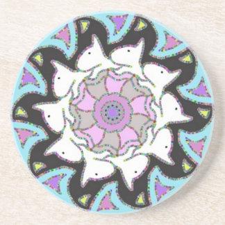 White Bull Terrier Pink/Blue Symmetrical Design Drink Coaster