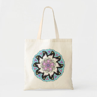 White Bull Terrier Pink/Blue Symmetrical Design Tote Bag
