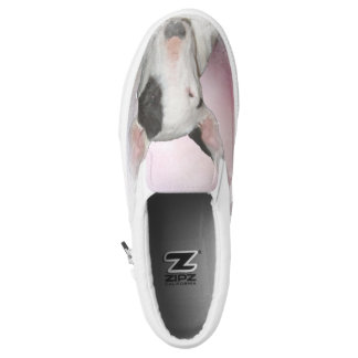 White Bull Terrier Pink Butterfly Slip on Printed Shoes