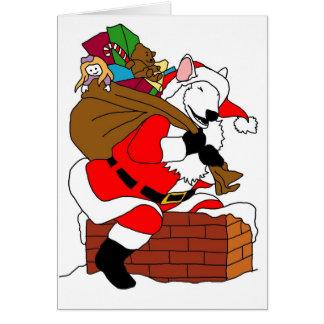 White bull terrier santa greeting card