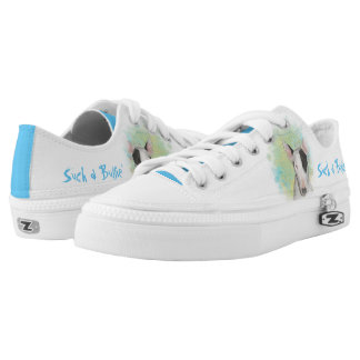 White Bull Terrier with Blue Butterfly sneakers Printed Shoes