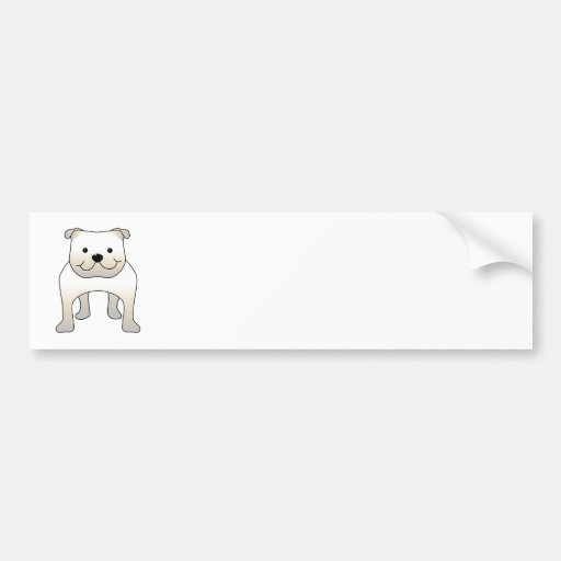 White Bulldog. Cute Dog Cartoon. Bumper Sticker