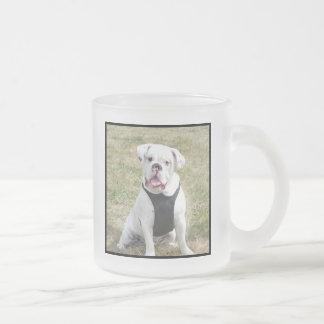 White bulldog frosted glass coffee mug