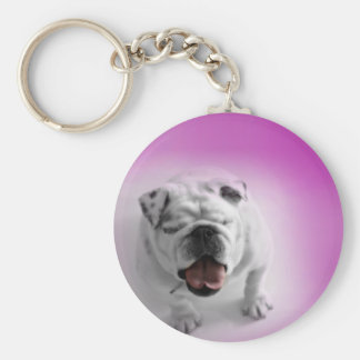 White Bulldog Keychain