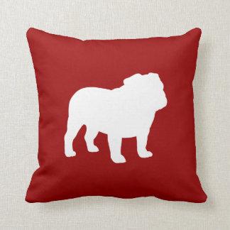 White Bulldog Silhouette on Red Customizable Throw Pillows
