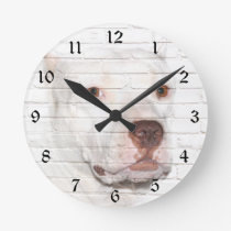 White bully Pitbull Round Clock