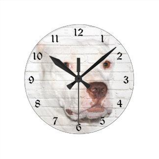 White bully Pitbull Round Clock