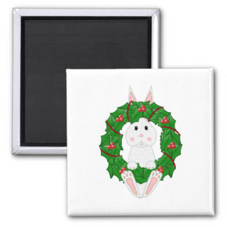 White Bunny And Christmas Wreath 2 Inch Square Magnet