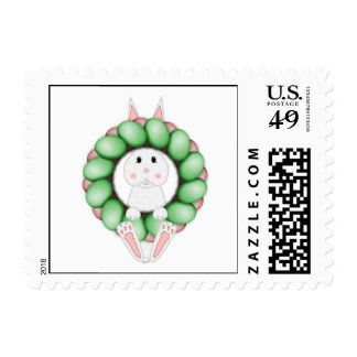 White Bunny And Colorful Easter Wreath Postage
