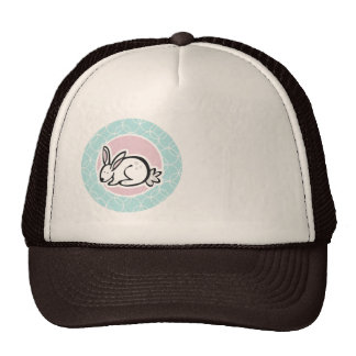 White Bunny; Baby Blue Circles Hat
