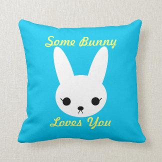 White Bunny Blue Pillow, Some Bunny Loves You Throw Pillow