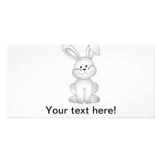 White bunny clipart card