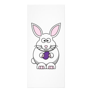 White Bunny Cute Cartoon Animal Customized Rack Card