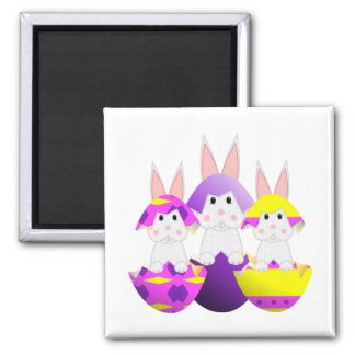 White Bunny Easter Eggs 2 Inch Square Magnet