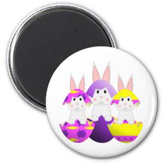 White Bunny Easter Eggs Magnet
