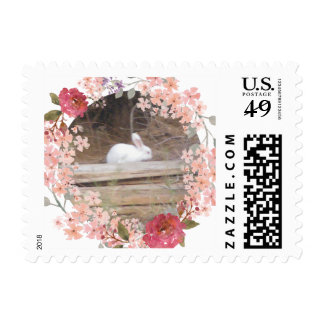 White Bunny Floral Wreath Postage