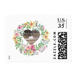 White Bunny & Floral Wreath Postage