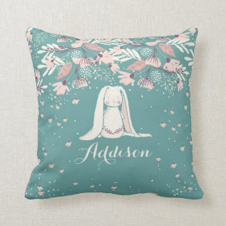 White Bunny & Flowers | Custom Name Throw Pillow