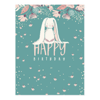 White Bunny & Flowers | Happy Birthday Postcard