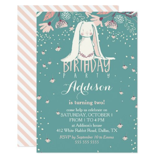 White Bunny & Flowers | Pink & Teal Kids Birthday Card