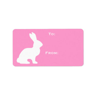White Bunny Gift Tag Personalized Address Labels