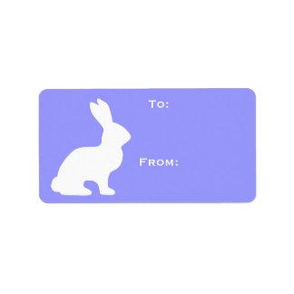 White Bunny Gift Tag Address Label