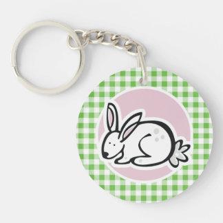 White Bunny Green Gingham Keychain