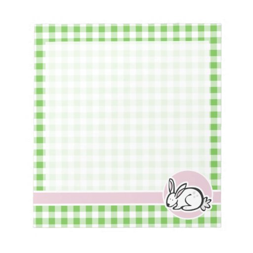 White Bunny; Green Gingham Memo Pads