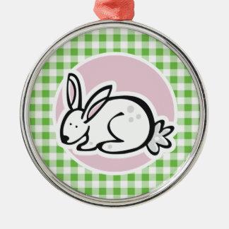 White Bunny; Green Gingham Christmas Ornament