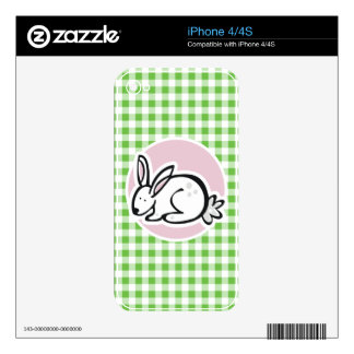 White Bunny; Green Gingham Decals For iPhone 4S