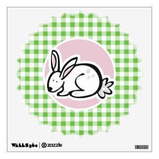 White Bunny; Green Gingham Wall Decal