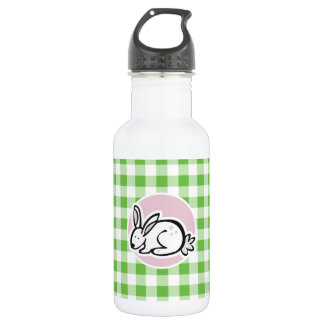 White Bunny; Green Gingham Water Bottle