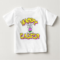 White Bunny Happy Easter Baby T-Shirt
