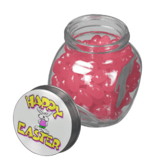 White Bunny Happy Easter Jelly Belly Candy Jar