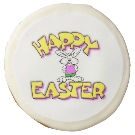 White Bunny Happy Easter Sugar Cookie