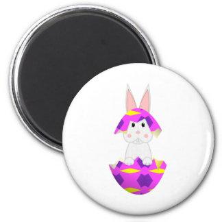 White Bunny In A Pink Egg Fridge Magnet