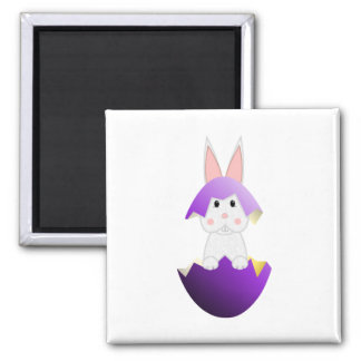 White Bunny In A Purple Egg Refrigerator Magnets